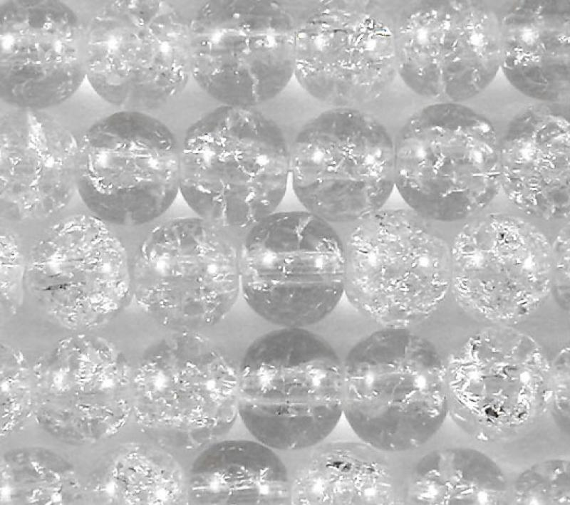 Clear 6mm Round Crackle Glass Beads