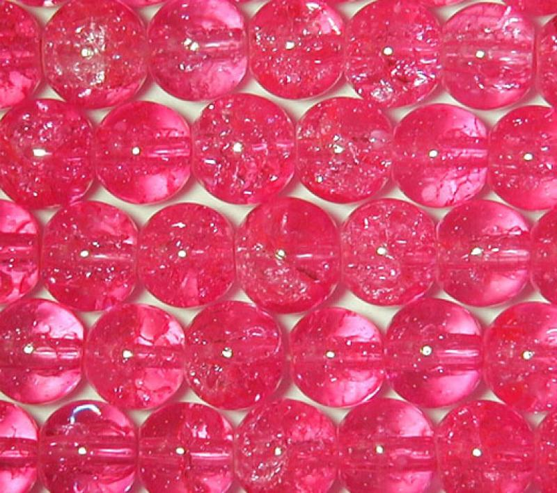 Hot Pink 6mm Round Crackle Glass Beads