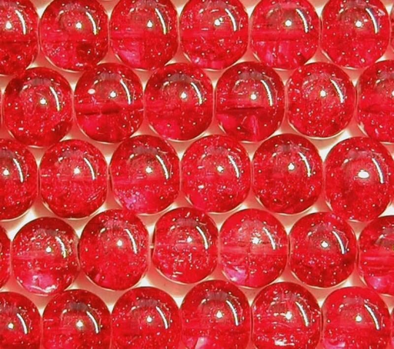 Red 6mm Round Crackle Glass Beads
