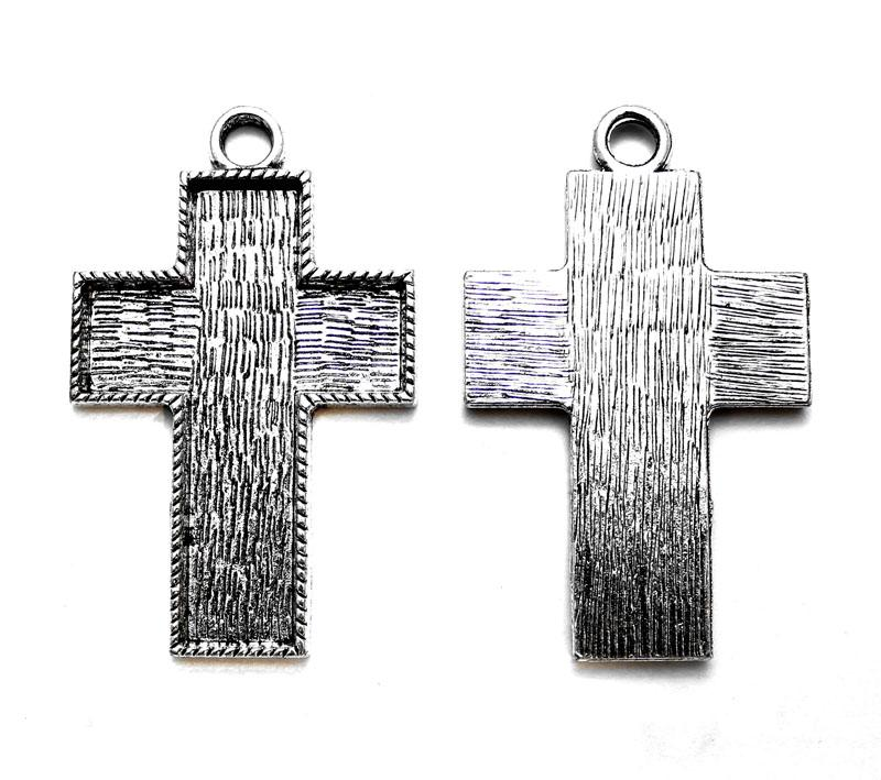 Antique Silver Cross Bezel