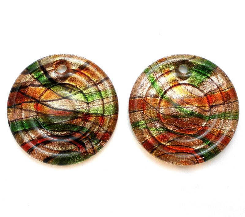 Red Orange & Green w/- Goldstone Round