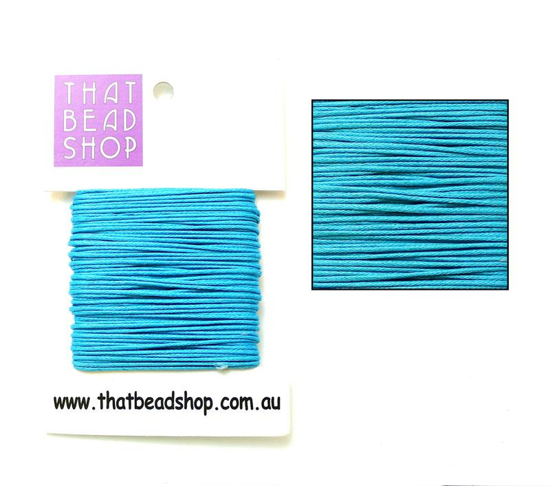 1mm Waxed Cotton Cord - Turquoise