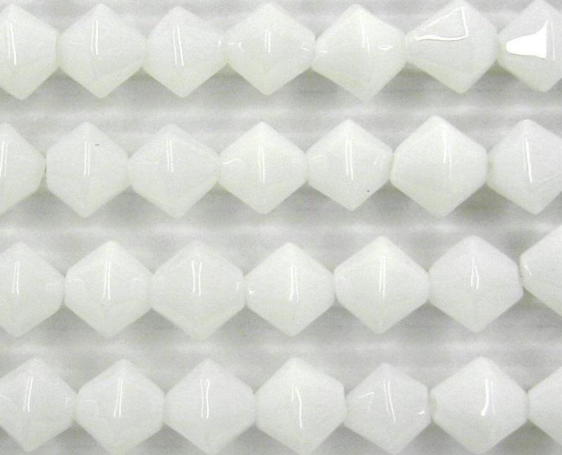 White 8mm Glass Bicone - 4 Strand Pack