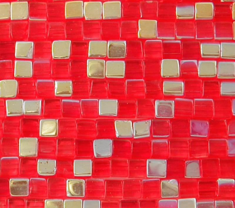 Bright Red 4mm AB Glass Cube