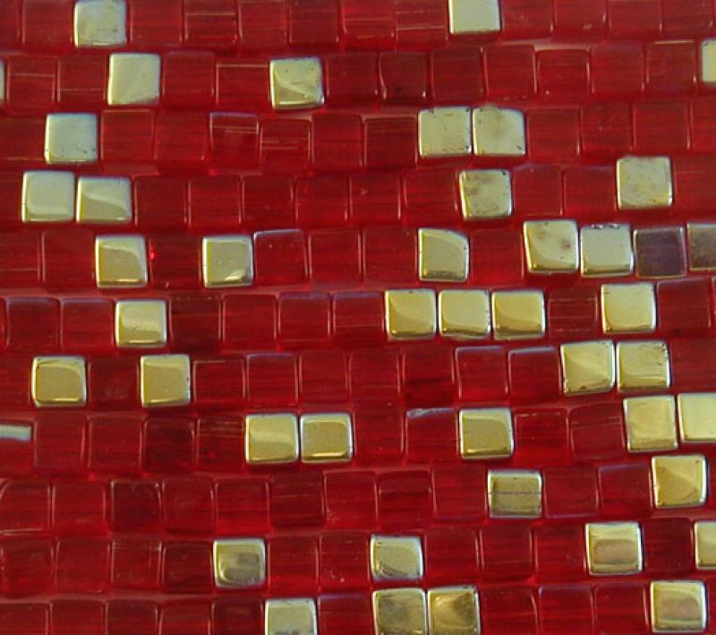 Red 4mm AB Glass Cube