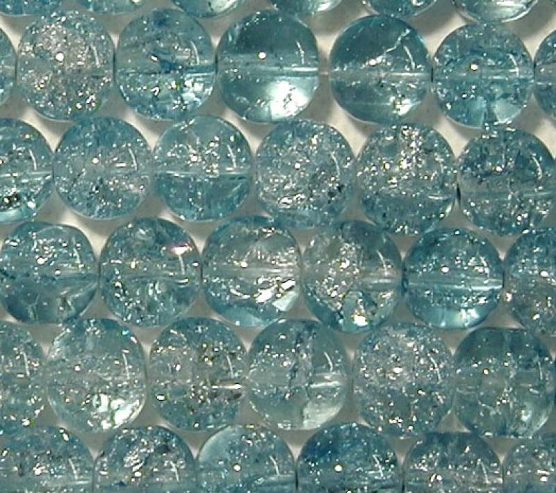 Blue 4mm Round Crackle Glass Beads