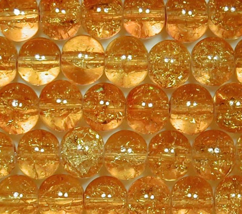Amber 6mm Round Crackle Glass Beads