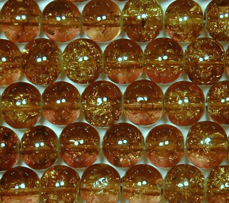 Brown 6mm Round Crackle Glass Beads
