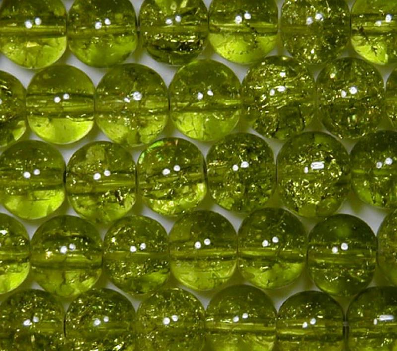 Peridot 6mm Round Crackle Glass Beads