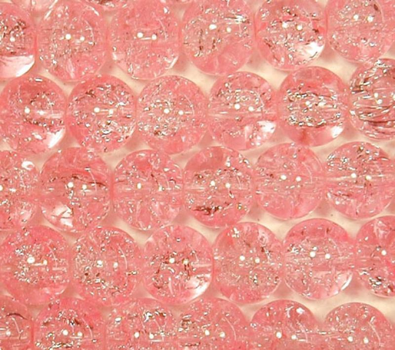 Pink 6mm Round Crackle Glass Beads