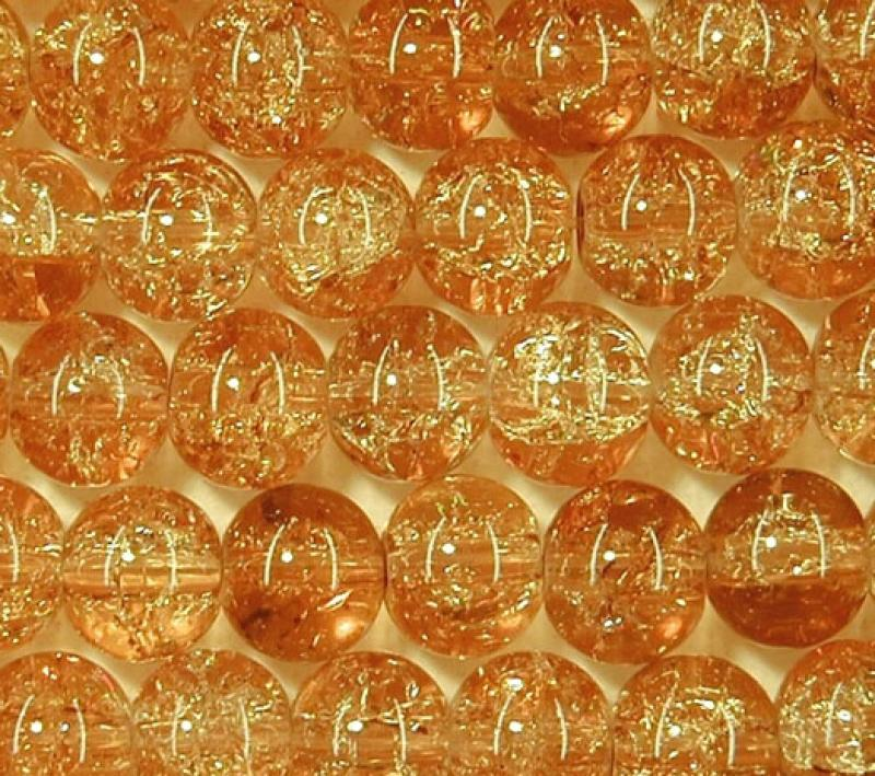 Topaz 6mm Round Crackle Glass Beads