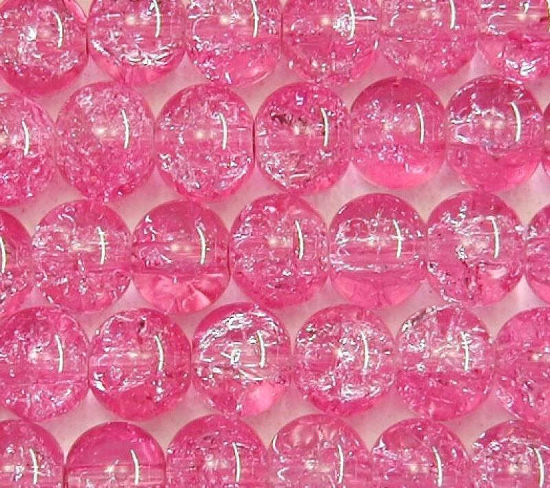 Cool Pink 8mm Round Crackle Glass Beads