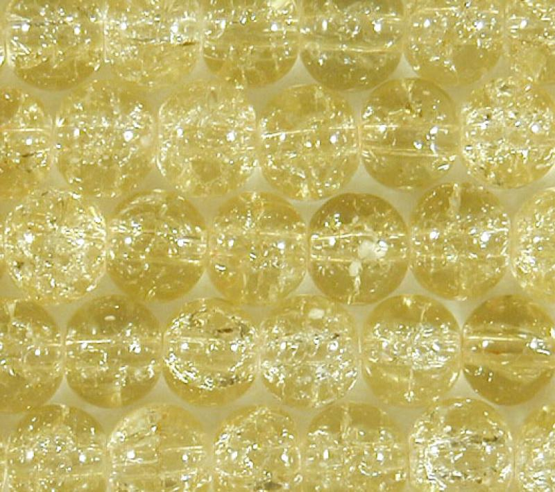 Lemon 8mm Round Crackle Glass Beads