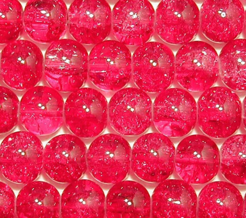 Raspberry 8mm Round Crackle Glass Beads