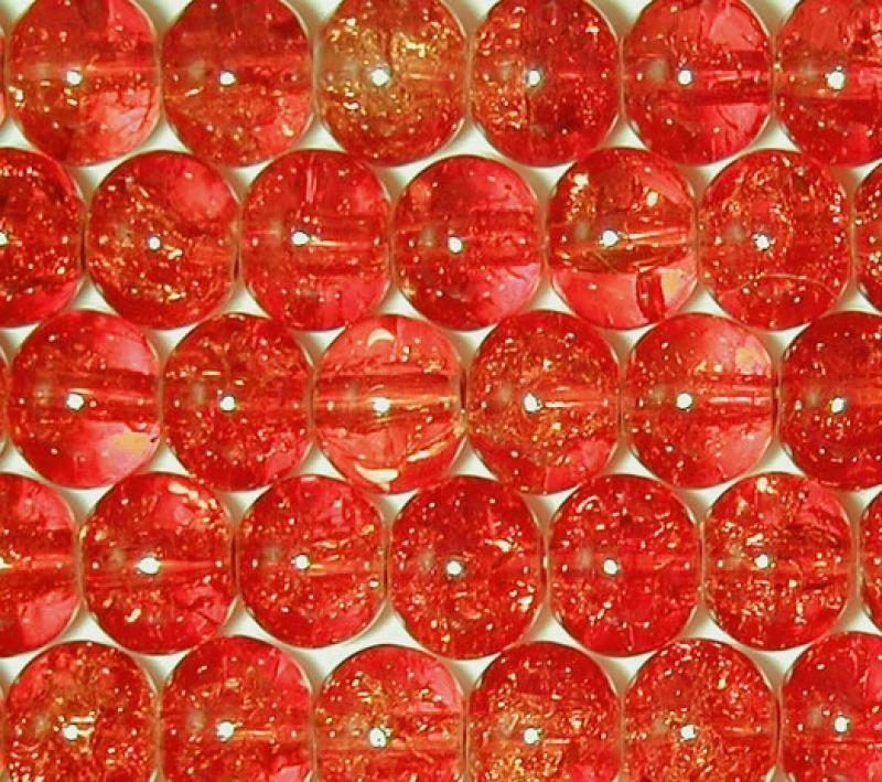 Warm Red 8mm Round Crackle Glass Beads