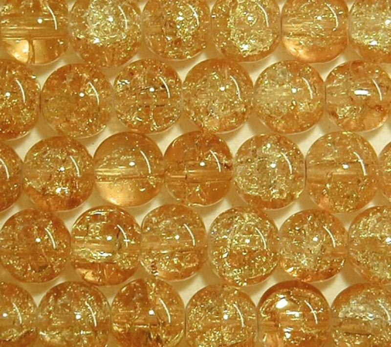 Yellow 8mm Round Crackle Glass Beads