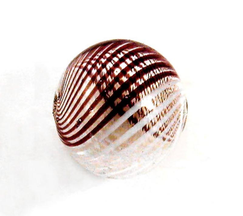 Aubergine / White Hollow Blown Glass Bead