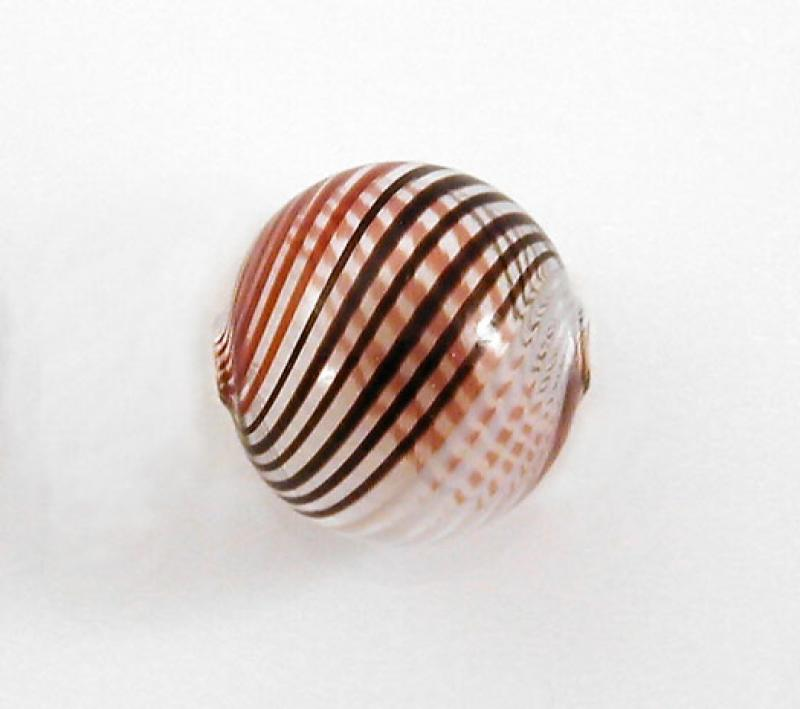 Red / Brown / White Hollow Blown Glass Bead