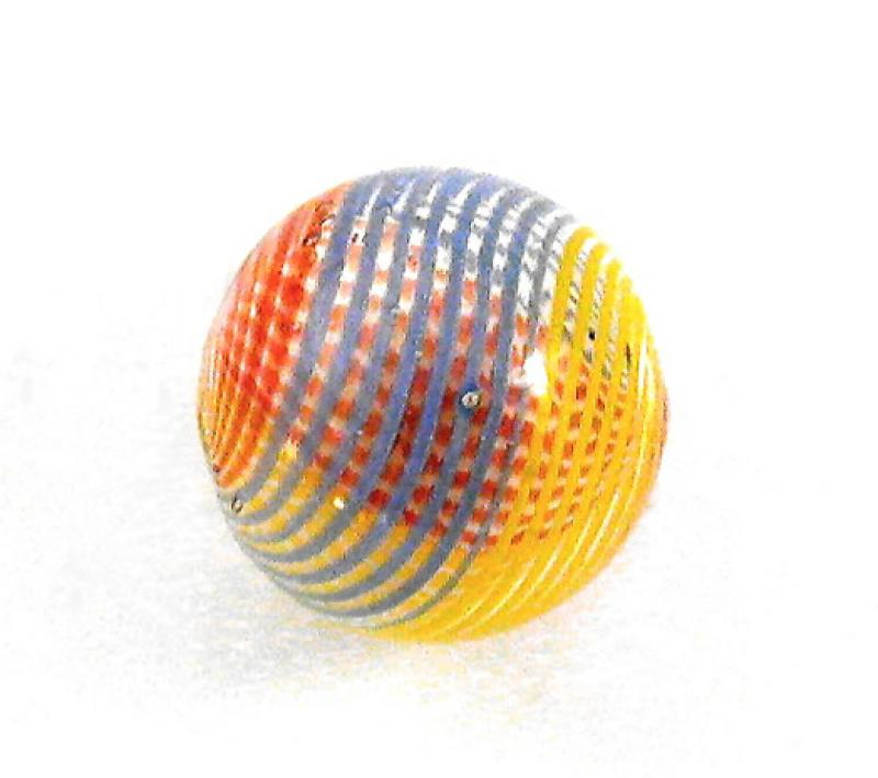 Red / Yellow / Blue Hollow Blown Glass Bead