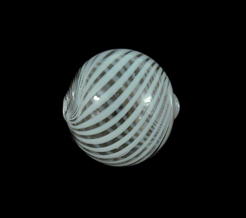 White Hollow Blown Glass Bead