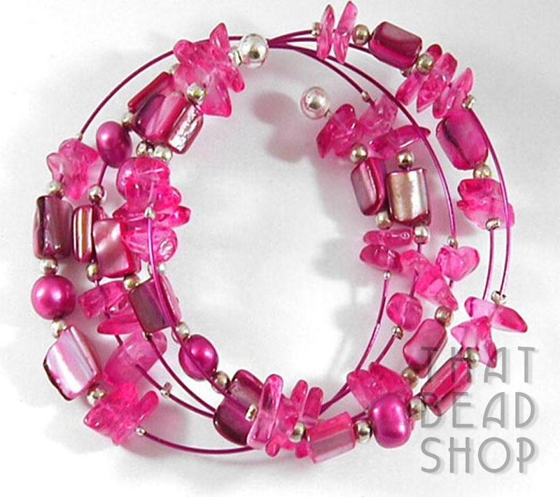 Colourful Unique Memory Wire Bracelet - Fuchsia