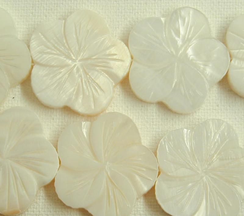 White-Natural MOP Carved Flower