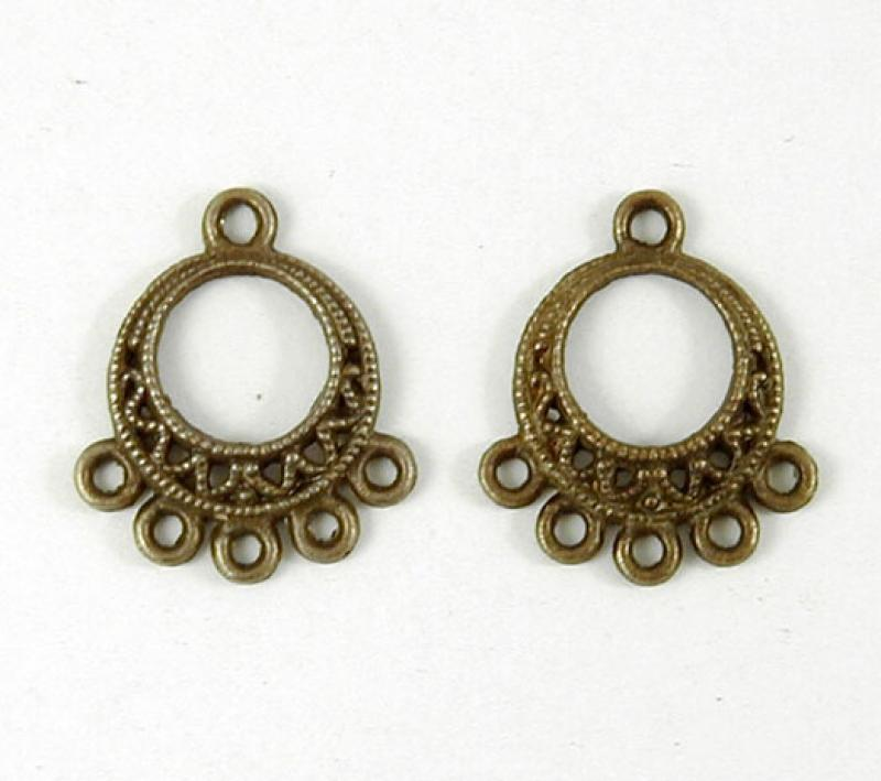 Earring Chandelier 14mm Antique Brass Filigree Round