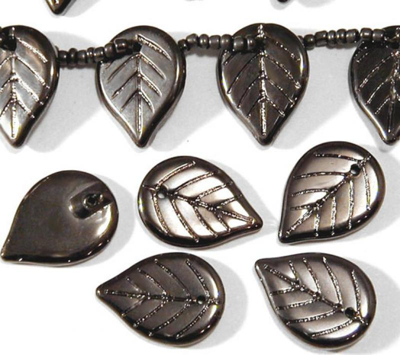 Pewter Metallic Glass Leaves
