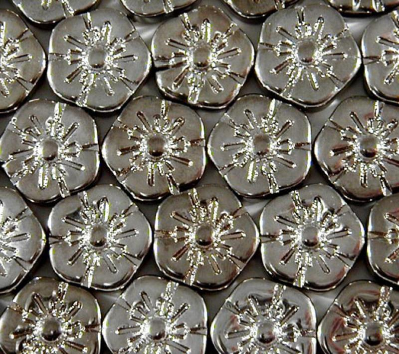 Pewter Metallic Glass Flowers - 14mm