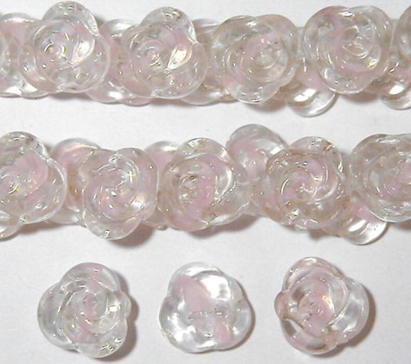 Pale Pink Rose Swirl Glass Button Flowers - 15mm