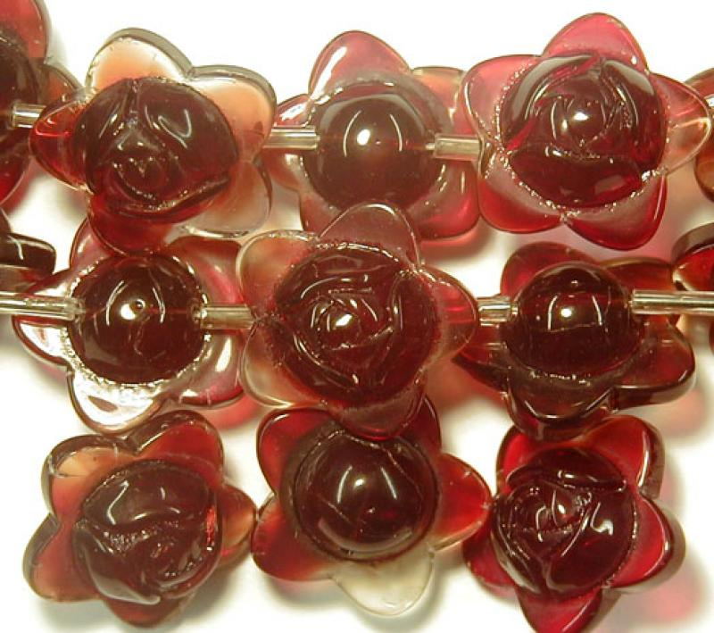 Red Carnelian Star Rose Glass Button Flowers - 15mm