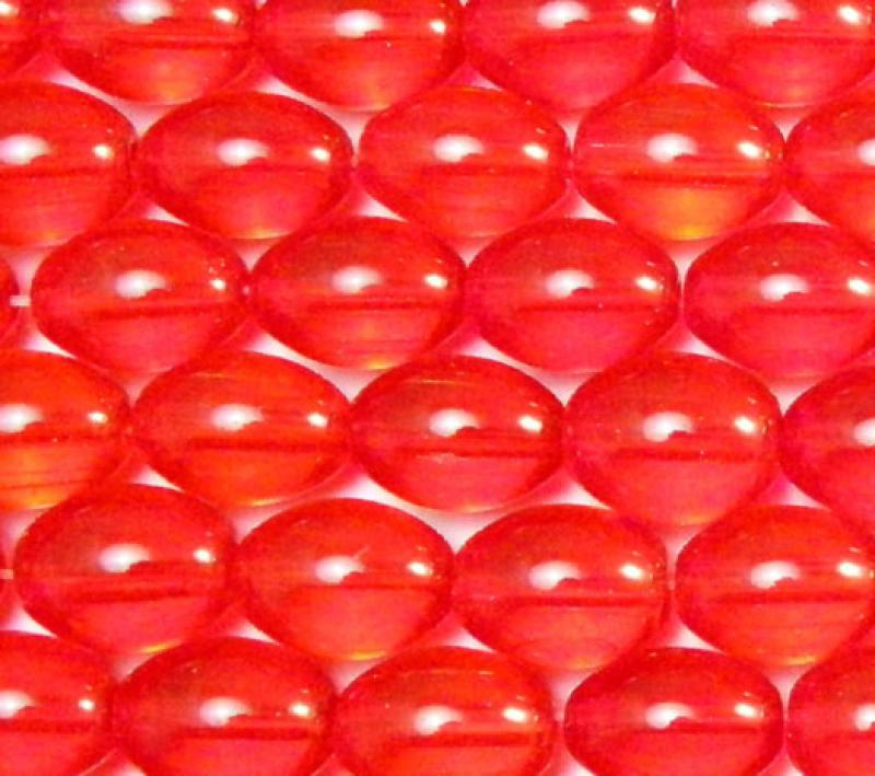 Bright Red Glass Oval