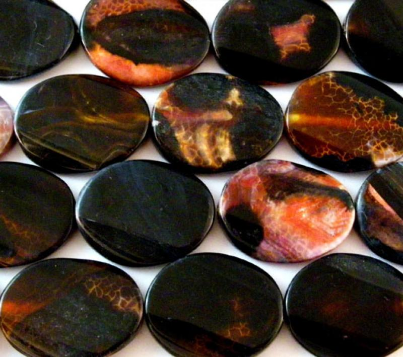 Black & Orange Fire Agate Oval