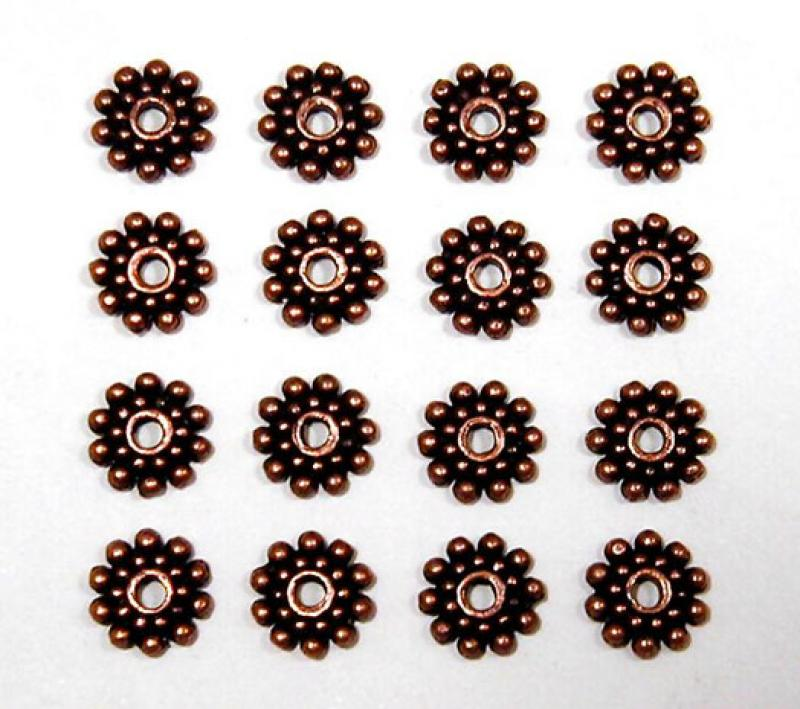 Antique Red Copper 8mm Sun Daisy Spacer Bead