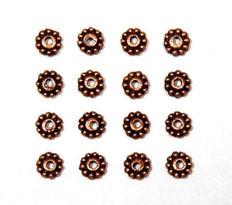 Red Copper 5mm Daisy Spacer Bead