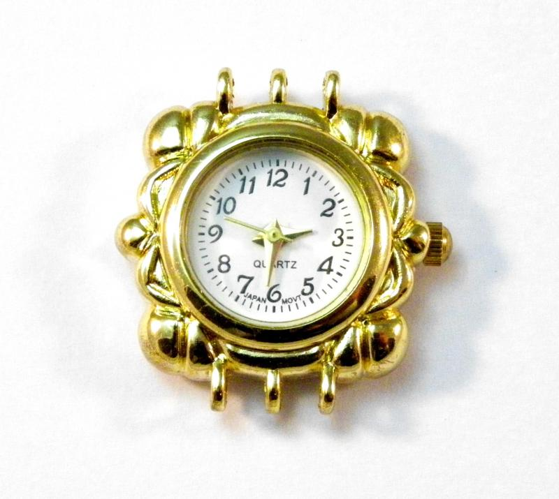 Gold Plated 3 Strand Ornate Square Watch Face