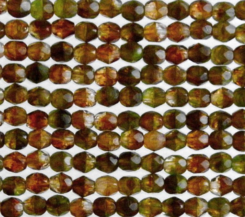 4mm Dragon Skin HurriCane Glass Fire Polished Faceted Round