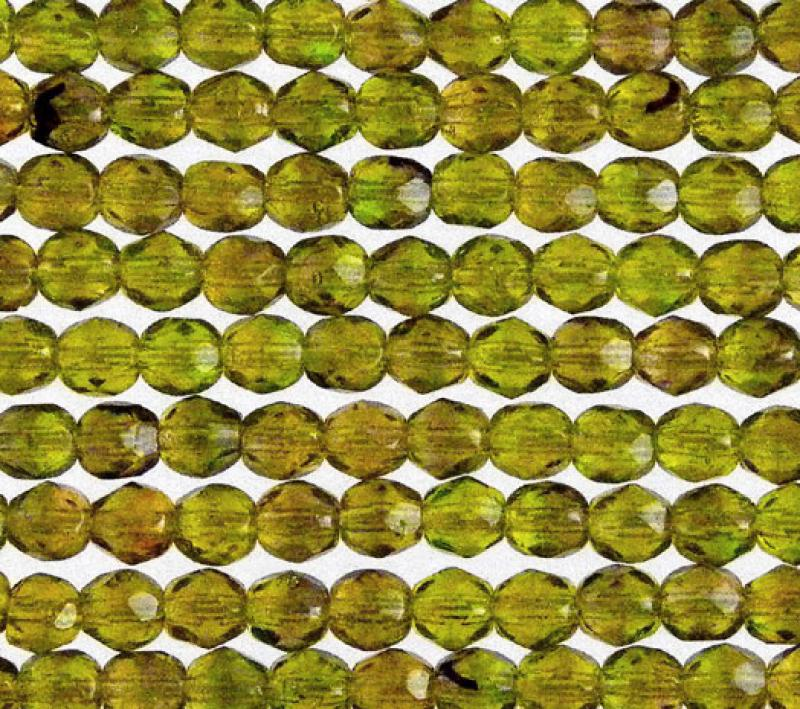 4mm Olivine Ripple HurriCane Glass Fire Polished Faceted Round
