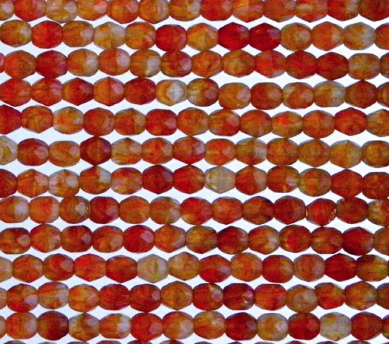 4mm Sunset Coral HurriCane Glass Fire Polished Faceted Round