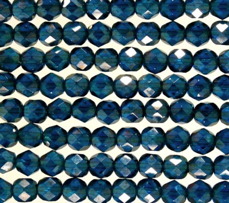 6mm Capri Blue Lustre Fire Polished Faceted Round