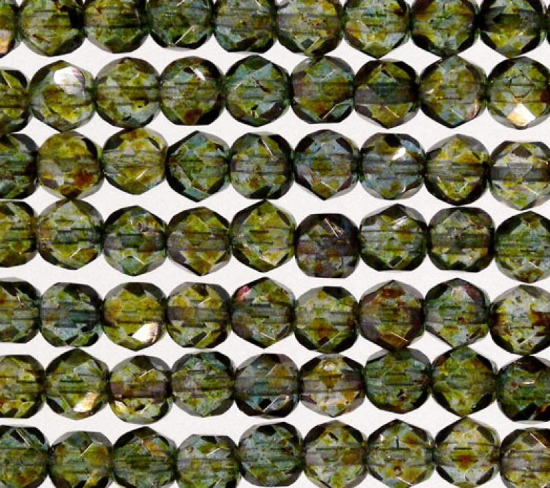 6mm Transparent Green Lustre Fire Polished Faceted Round