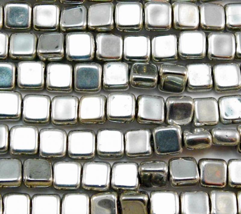 6mm Silver Plated Pressed Glass Flat Squares