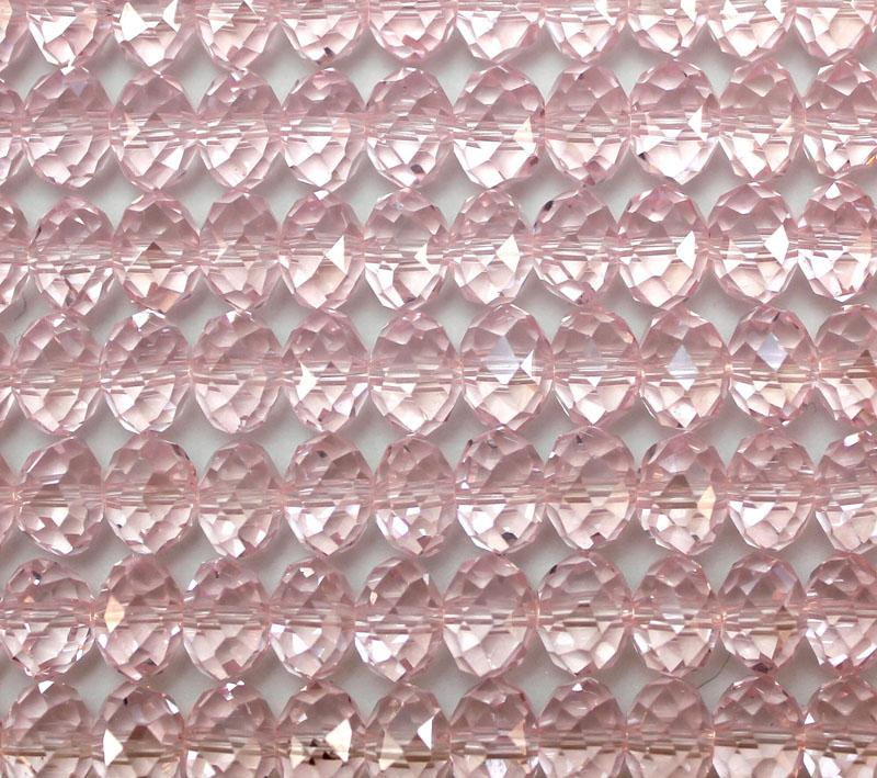 Pink Crystal 8mm x 6mm Faceted Roundel