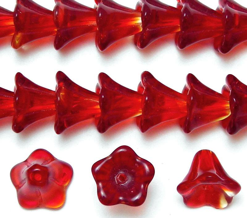 Flame Red Bell Shaped Glass Flower - 11-12mm