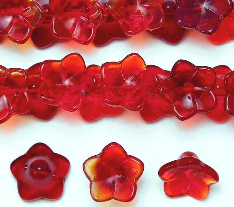 Flame Red Glass Frangipani Button Bead - 14mm