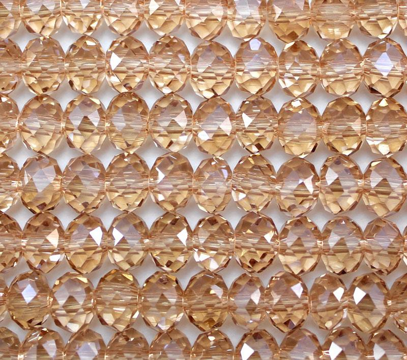 Light Peach Crystal 8mm x 6mm Faceted Roundel