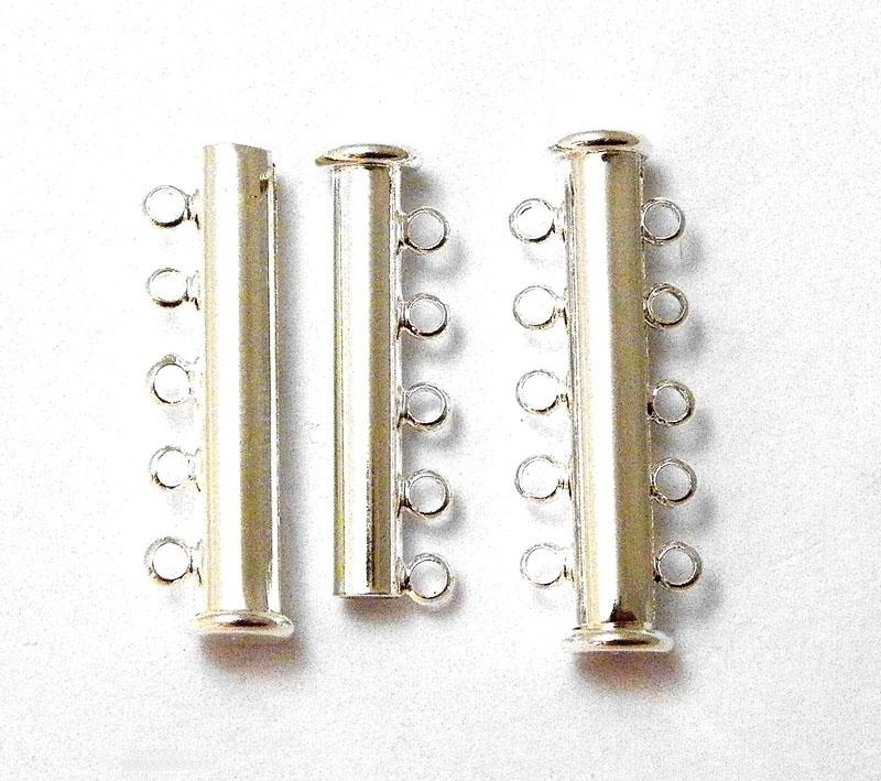 5 Strand Silver Plated Magnetic Slider Bar Clasp