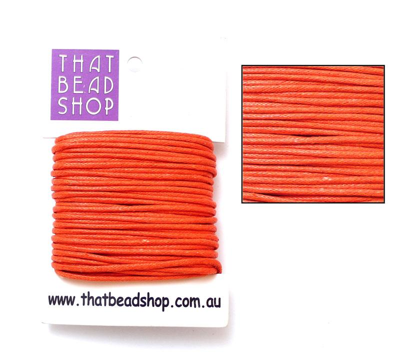 2mm Waxed Cotton Cord - Orange