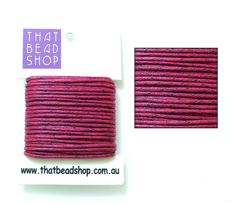 2mm Waxed Cotton Cord - Cerise
