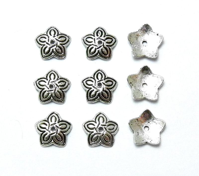 Antique Silver 10mm Flower Bead Cap